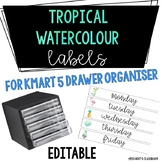 Tropical Watercolour Labels for Kmart 5 Drawer Organiser {