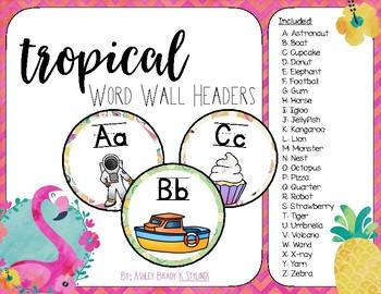 Tropical Word Wall Headers