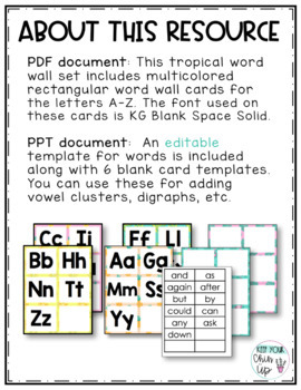 tropical word wall letters editable by keep your chin up tpt