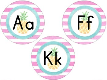 Tropical Word Wall Letters and Words - Editable