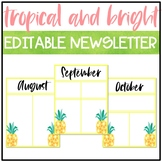 Tropical and Bright Classroom Decor: EDITABLE NEWSLETTER