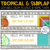 Tropical and Shiplap Desk Name Tags
