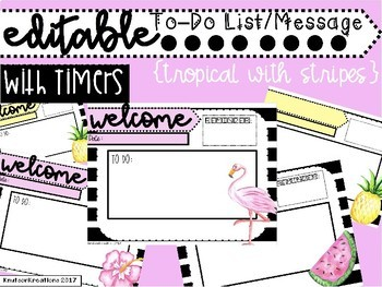 Tropical and Stripes Editable Assignment Powerpoint with Timers