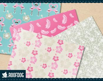 Tropical beach flamingo digital paper.