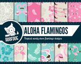 Tropical beach flamingo digital paper.