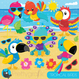 Tropical birds clipart commercial use, graphics, digital clip art - CL880