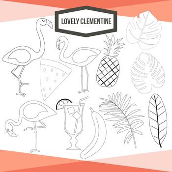 Tropical clip art - flamingo clipart and digital stamps