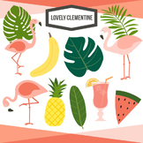 Tropical clip art - flamingo clipart and digital stamps -