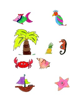 Tropical clip art, images of seahorse,boat,palm tree and more