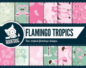 Tropical flamingo digital paper.