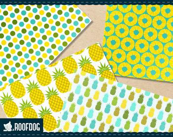 Tropical pineapple digital paper