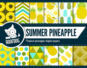 Tropical pineapple digital paper