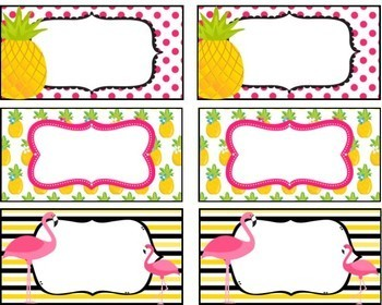 Tropical (pineapple & flamingo) Theme Labels, Signs, and Posters **editable**