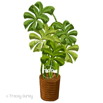 Tropical plant clip art - Philodendron painting Printable Tracey Gurley Designs