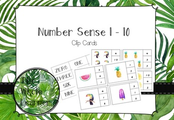 Tropical theme number sense 1-10 clip cards with matching number name cards