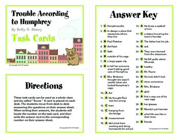 Trouble According to Humphrey Task Cards By Betty G. Birney