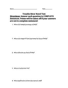 Trouble River Novel Test