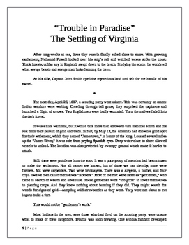 Trouble in Paradise: The Settling of Virginia