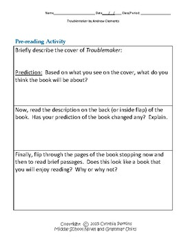 Troublemaker Complete Literature and Grammar Unit