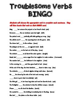 Troublesome Verbs BINGO
