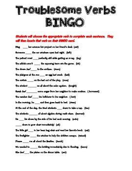 Troublesome Verbs BINGO