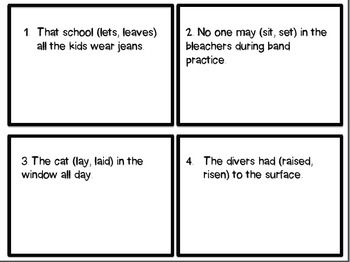 Troublesome Verbs Task Cards