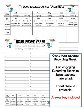 troublesome verbs worksheet resultinfos. Black Bedroom Furniture Sets. Home Design Ideas