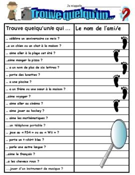 Trouve Quelqu`un qui...Icebreaker for older grades in FRENCH!!!