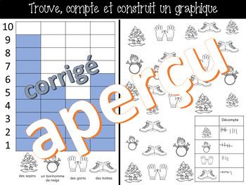 Trouve, colorie et construit un graphique - HIVER  - (French-FSL)