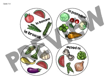 Trouve-le: Fruits et Légumes! A Spot the Match Game for French Food Vocabulary