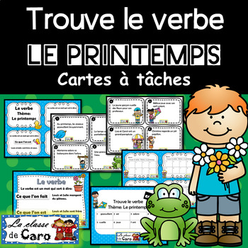Trouve le verbe - Cartes à tâche -  LE PRINTEMPS  - (French - FSL)