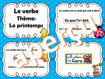 Trouve le verbe - Cartes à tâche -  LE PRINTEMPS  - (French - FSL)