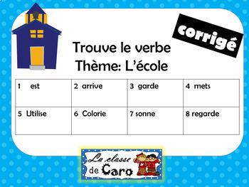 Trouve le verbe - Thème: L'école - Cartes à tâches