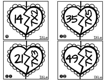 Trouve ta moitié - MULTIPLICATION / Valentine Puzzles