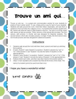 Trouve un ami qui... version hiver (Find Someone Who...  French Winter Edition )