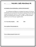 Trouver l'idée principale dans un texte, French Immersion