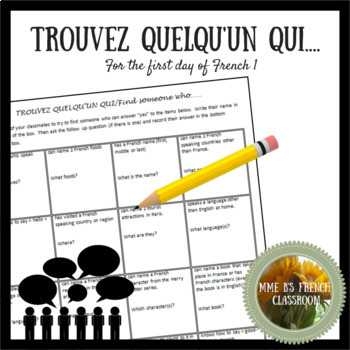 Trouvez quelqu'un qui: An activity for the first day of French 1