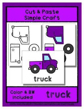 Truck  - Cut & Paste Craft - Super Easy perfect for Pre-K & Kindergarten