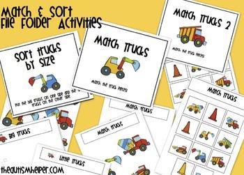 Truck File Folder Activities for Preschool and Kindergarten