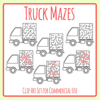 Truck Mazes Clip Art Set for Commercial Use
