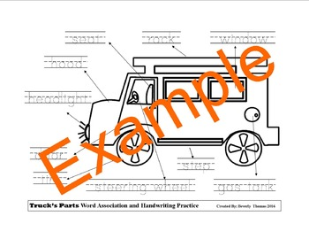 Truck's Parts Word Association and Handwriting Practice