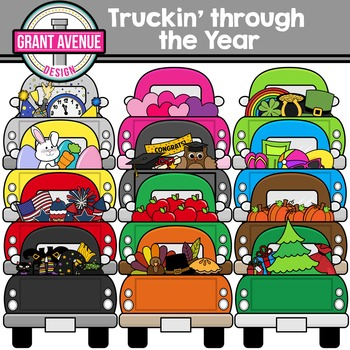 Truckin' Through the Year - Vintage Truck Holiday Clipart
