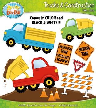 Trucks & Construction Clipart Set — Over 25 Bright Graphics!