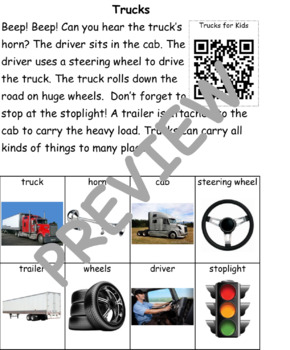 Trucks: Informational Text and Writing Activity