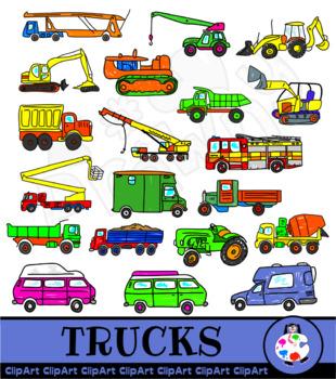 Trucks and Camper Van Clip Art Vehicles