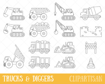 Trucks and Diggers Clip Art, Construction Coloring Activity