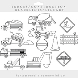 Trucks clipart blacklines - construction clip art excavator fire engine lineart