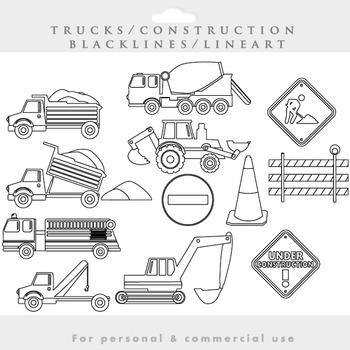 Trucks clipart blacklines - construction clip art excavator fire engine lineart