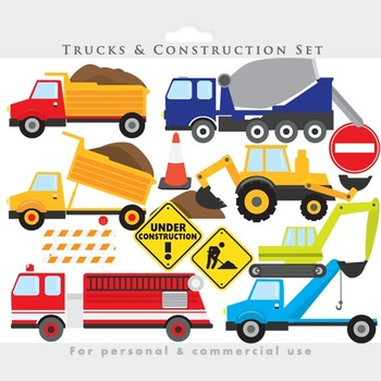 Trucks clipart - construction clip art backhoe excavator fire engine, fire truck