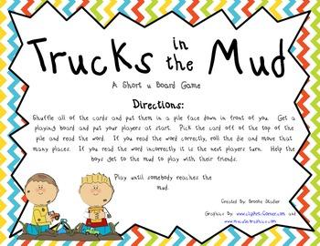 Trucks in the Mud - A Short u Word Board Game
